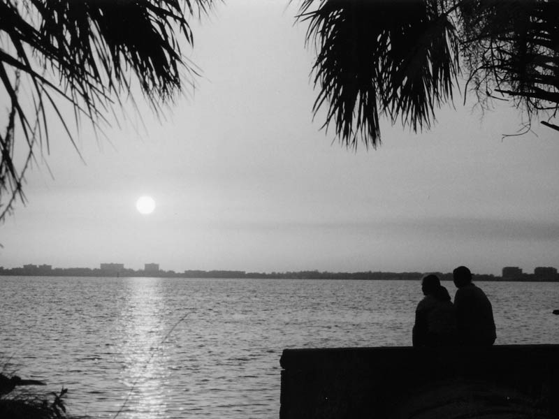 couple watching the sunset photo